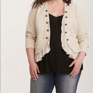 Torrid Jacket Military Open Front Button Stone